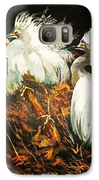 Galaxy Case featuring the painting Nesting Egrets by Al Brown