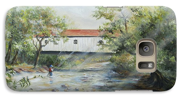 Galaxy Case featuring the painting New Jersey's Last Covered Bridge by Luczay