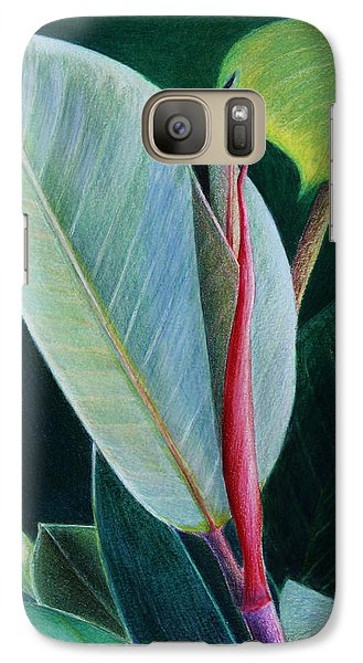 Galaxy Case featuring the painting New Leaf Emerging. by Mariarosa Rockefeller