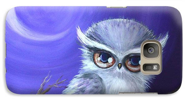 Galaxy Case featuring the painting New Moon Owl by Agata Lindquist