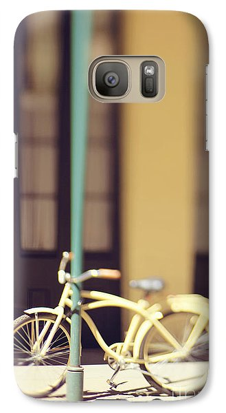 Galaxy Case featuring the photograph New Orleans Yellow Bicycle by Heather Green
