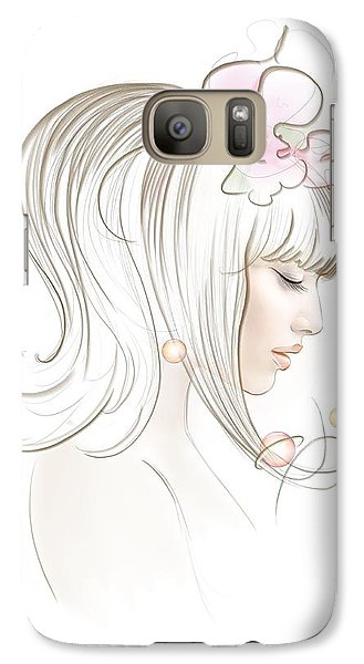 Galaxy Case featuring the drawing New Star by Anna Ewa Miarczynska