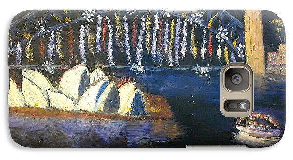 Galaxy Case featuring the painting New Year Eve On Sydney Harbour by Pamela  Meredith