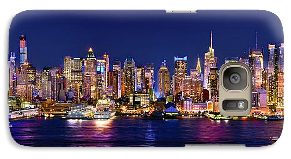 New York City Nyc Midtown Manhattan At Night Galaxy S7 Case by Jon Holiday