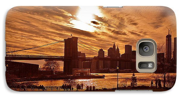 Galaxy Case featuring the photograph New York Skyline And Brooklyn Bridge -- Late Afternoon by Mitchell R Grosky