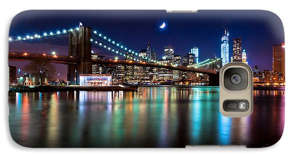 Galaxy Case featuring the photograph New York Skyline And Brooklyn Bridge With Crescent Moon Rising by Mitchell R Grosky