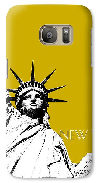 New York Skyline Statue Of Liberty - Gold Galaxy Case by DB Artist