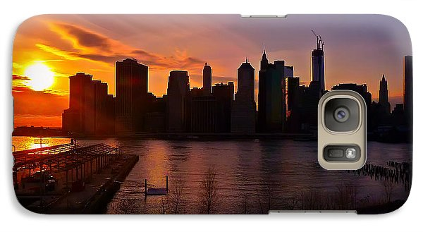 Galaxy Case featuring the photograph New York Skyline Sunset -- From Brooklyn Heights Promenade by Mitchell R Grosky