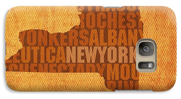 New York Word Art State Map On Canvas Galaxy S7 Case