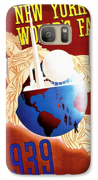 Galaxy Case featuring the mixed media New York Worlds Fair 1939 Vintage Travel Art  by Presented By American Classic Art