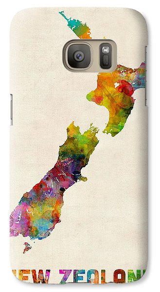 New Zealand Watercolor Map Galaxy S7 Case by Michael Tompsett
