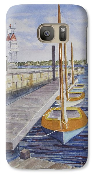 Galaxy Case featuring the painting Newport Boats In Waiting by Carol Flagg