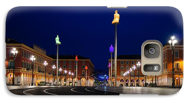 Galaxy Case featuring the photograph Nice France - Place Massena Blue Hour  by Georgia Mizuleva