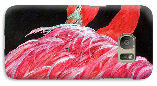 Galaxy Case featuring the painting Night Flamingo by Lil Taylor