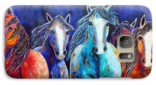 Galaxy Case featuring the painting Night Horse Rendezvous by Jennifer Godshalk