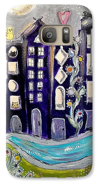 Galaxy Case featuring the painting Night Kittyscape by Lou Belcher