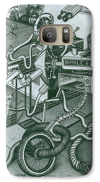 Galaxy Case featuring the drawing Nimble Bot by Richie Montgomery