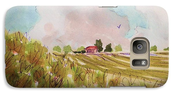 Galaxy Case featuring the painting Nimbus Clouds And Farm by Suzanne McKay
