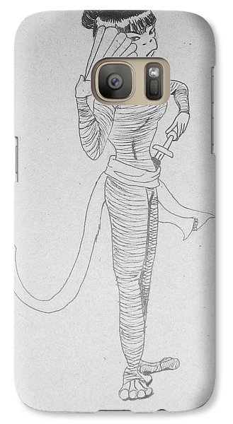 Galaxy Case featuring the drawing Ninja Monkey by Wendy Coulson