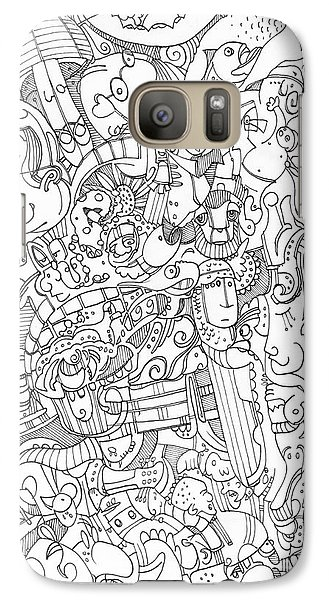 Galaxy Case featuring the drawing No Spiders Here by Michael Ciccotello
