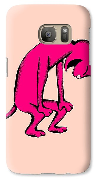 Galaxy Case featuring the drawing Noodle Cat Doubled Over In Laughter by Pet Serrano