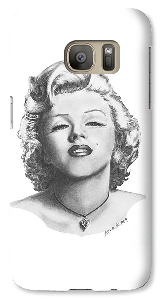 Galaxy Case featuring the drawing Norma Jeane by Marianne NANA Betts