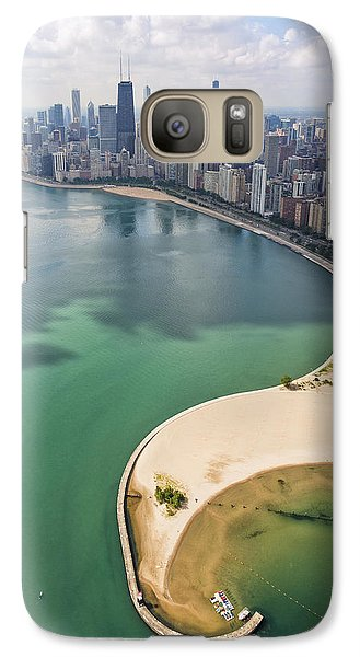 Helicopter Galaxy S7 Case - North Avenue Beach Chicago Aerial by Adam Romanowicz