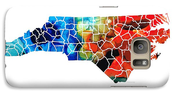 North Carolina - Colorful Wall Map By Sharon Cummings Galaxy Case by Sharon Cummings