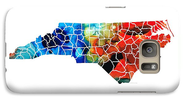 North Carolina - Colorful Wall Map By Sharon Cummings Galaxy S7 Case by Sharon Cummings