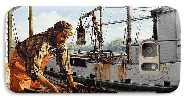 Galaxy Case featuring the painting Northwest Fisherman by Ron Crabb