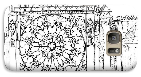 Galaxy Case featuring the drawing Notre Dame Sketch by Mary Bedy