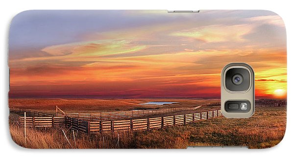 Galaxy Case featuring the photograph November Sunset On The Cattle Pens by Rod Seel