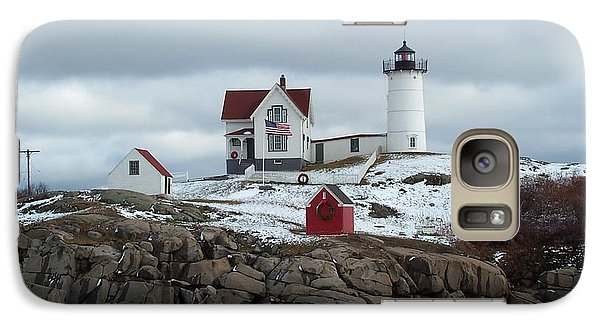 Galaxy Case featuring the photograph Nubble Light In December by Barbara McDevitt