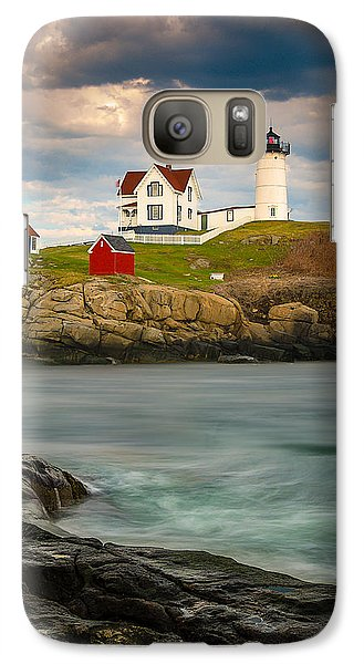 Galaxy Case featuring the photograph Nubble Lighthouse by Steve Zimic