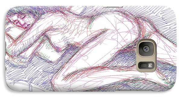 Galaxy Case featuring the drawing Nude Female Sketches 5 by Gordon Punt