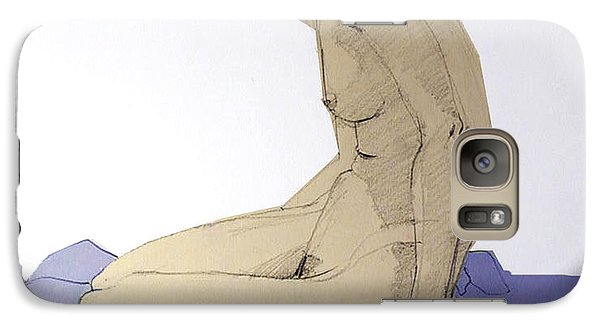 Galaxy Case featuring the drawing Nude Figure In Blue by Greta Corens