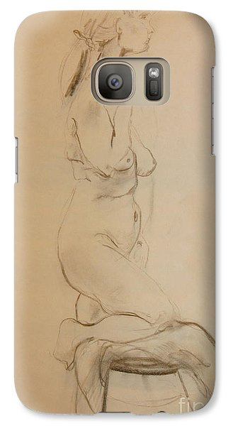 Galaxy Case featuring the drawing Nude Kneels On Stool by Gabrielle Schertz