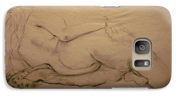Galaxy Case featuring the digital art Nude On Blanket by Gabrielle Schertz