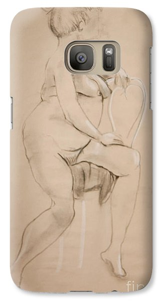 Galaxy Case featuring the drawing Nude Sits On White Chair by Gabrielle Schertz