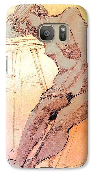 Galaxy Case featuring the drawing Nude Woman Leaning On A Barstool by Greta Corens