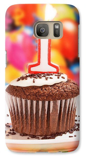 Galaxy Case featuring the photograph Chocolate Cupcake With One Burning Candle by Vizual Studio