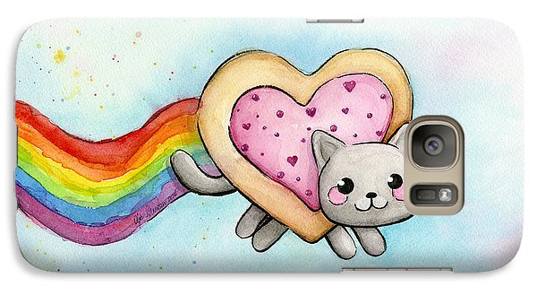Cat Galaxy S7 Case - Nyan Cat Valentine Heart by Olga Shvartsur