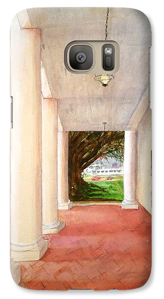 Galaxy Case featuring the painting Oak Alley - Veranda View Of The Delta Queen by June Holwell