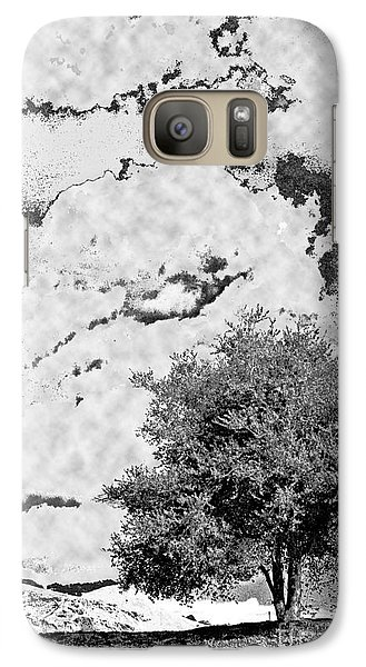 Galaxy Case featuring the photograph Oak On A Hill Blk And Wht by Gary Brandes