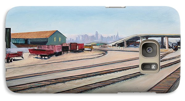 Galaxy Case featuring the painting Oakland Train Tracks And San Francisco Skyline by Asha Carolyn Young