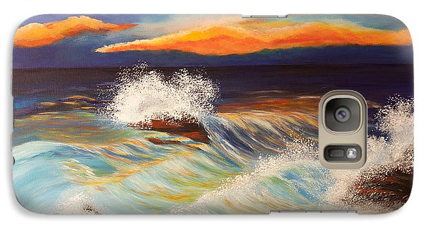 Galaxy Case featuring the painting Ocean Sunset by Michelle Joseph-Long