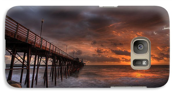 Galaxy Case featuring the photograph Oceanside Pier Perfect Sunset by Peter Tellone