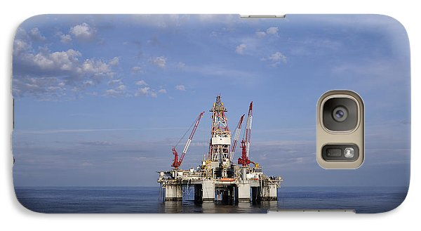 Galaxy Case featuring the photograph Offshore Oil Rig And Sky by Bradford Martin