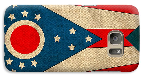 Ohio State Flag Art On Worn Canvas Galaxy Case by Design Turnpike
