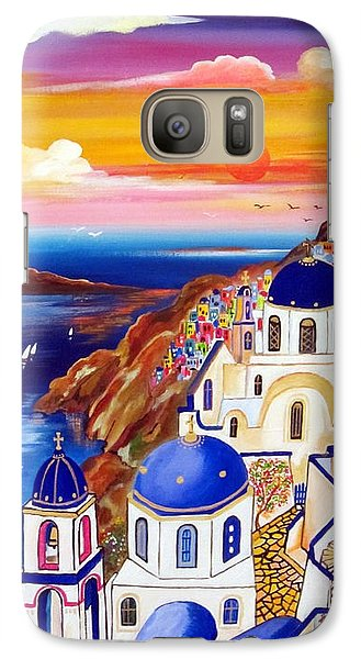 Galaxy Case featuring the painting Oia Santorini Greece by Roberto Gagliardi